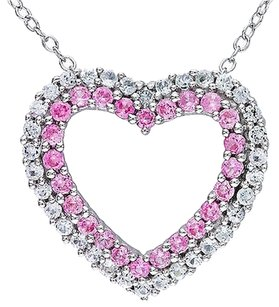 Sterling Silver Diamond 1 38 Ct Pink White Sapphire Heart Pendant Necklace