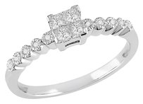 14 Ct Princess Diamond Tw Engagement Ring 14k White Gold Gh I1