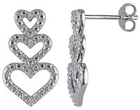 Other Sterling Silver Diamond Heart Stacked Dangledrop Stud Earrings Gh Hij I3