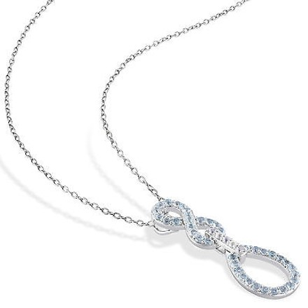 Other Sterling Silver 12 Ct Sky Blue White Topaz Infinity Crossover Pendant Necklace