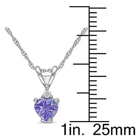 Other 10k White Gold Diamond And 38 Ct Tanzanite Heart Love Pendant Necklace Gh I1i2