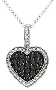 Other Sterling Silver 12 Ct Black Diamond Tw Heart Love Pendant Necklace