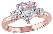Other Pink Sterling Silver 2 Ct Aquamarine Created White Sapphire Heart Love Ring