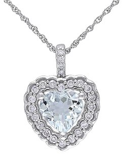 10k White Gold 16 Ct Diamond And 58 Ct Aquamarine Heart Pendant Necklace