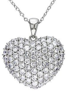 Sterling Silver 3 18 Ct Created White Sapphire Heart Love Pendant Necklace