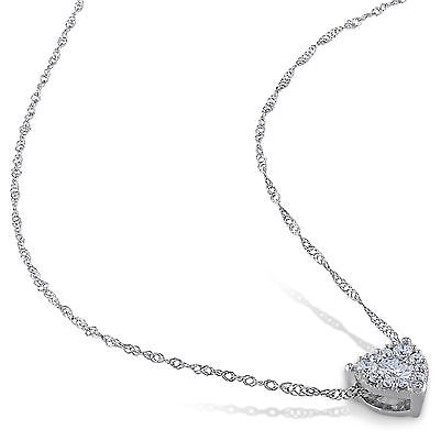Other 14k White Gold 14 Ct Diamond Tw Heart Love Pendant Necklace Gh I1i2