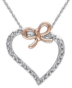 Other Sterling Silver 18 Ct Diamond Heart Love Bow Fashion Pendant Necklace Gh I2i3