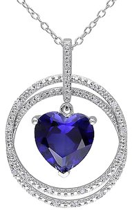 Other Sterling Silver 110 Ct Diamond And Blue Sapphire Heart Pendant Necklace I2i3