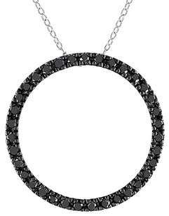Sterling Silver 1 Ct Black Diamond Tw Fashion Pendant Necklace
