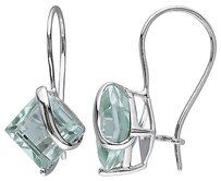 10k White Gold 3 12 Ct Tgw Green Amethyst Euro Back Earrings