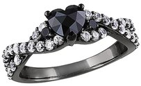 Silver 35 Ct Black Heart Love Diamonds And 58 Ct Sapphire Crossover Ring