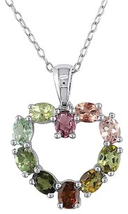Other Sterling Silver 2.4 Ct Green Pink Yellow Tourmaline Multi-colored Heart Pendant