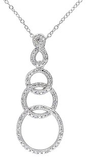Sterling Silver 16 Ct Diamond Interlocking Circle Pendant Necklace Gh I2i3