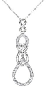 Other Sterling Silver 13 Ct Diamond Infinity Crossover Pendant Necklace Gh I2i3