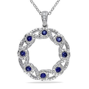 Other Sterling Silver Diamond And 34 Created Blue Sapphire Necklace Gh I2i3