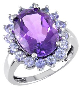 Amour Sterling Silver Amethyst Tanzanite Gemstone Ring 5.91 Ct Cttw