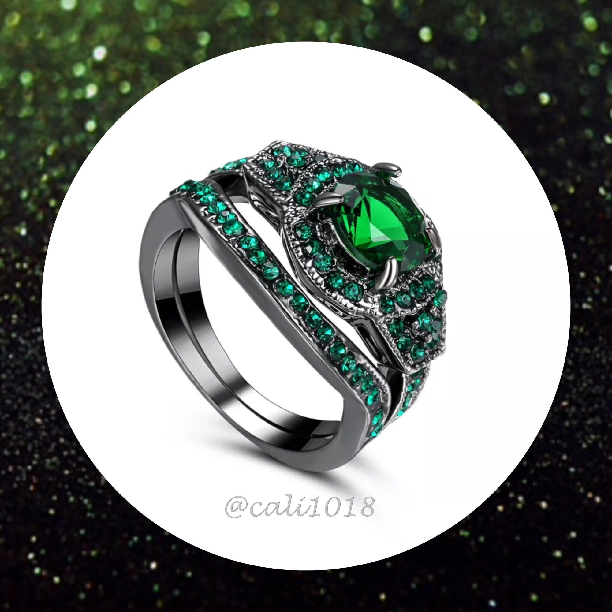 2pc emerald green and black gold filled wedding ring set sz 7 70