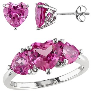 Other Sterling Silver 8 34 Ct Created Pink Sapphire 3-stone Heart Ring
