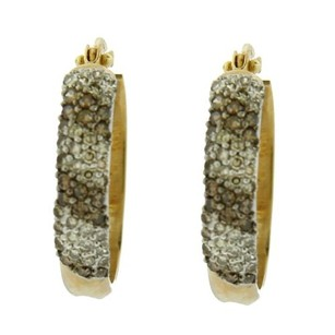 Other 3.6 Grams 14k Yellow Gold White And Champagne Diamond Hoop Earrings