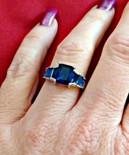 Other 4.0ctw 14k White Gold Filled, Beautifully created Fine Blue Sapphire R