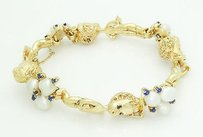 50s Estate Ruser Children Of The Week Pearl Sapphire 14k Gold Bracelet B118