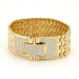 5ct Diamonds 18k Yellow Gold Octagon Link Wide Bracelet