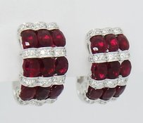 6.40 Carats Tcw Natural Rubies Diamonds 18k White Gold Earrings E120