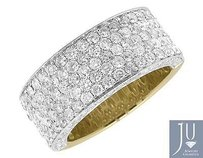 10k Yellow Gold Mens 3d Round Pave Diamond Engagement Wedding Ring Band 3.5ct