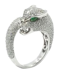 .925 RHODIUM PLATED STERLING SILVER CUBIC ZIRCONIA PANTHER RING