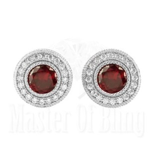 925 Silver Earrings Mens Ladies Garnet Red Ruby Gemstone Platinum Plated Studs