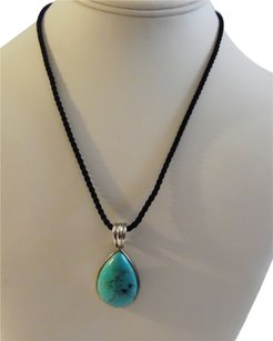.925 Sterling Silver Turquoise Pendant with 18 Inch Cord