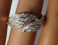Affinity Gold Tone Sterling Silver Diamond Angel Wing Ring B3290