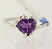 Other Amethyst Heart Ring - 925 Sterling Silver Bypass Band .01ctw Diamonds Womens