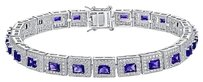 Amethyst Princess Cut Bracelet Sterling 925 Silver Carat Swarovski Elements