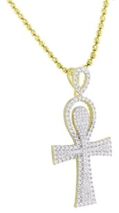 Other Ankh Cross Pendant 14k Yellow Gold Finish Simulated Diamond Moon Chain 925silver