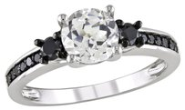Other Sterling Silver White Sapphire And Black Accent Diamond Ring 1.71 Ct Cttw
