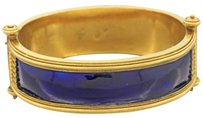 Other Antique 1880s Victorian 18k Solid Yellow Gold Blue Enamel Bangle Bracelet 52.9g