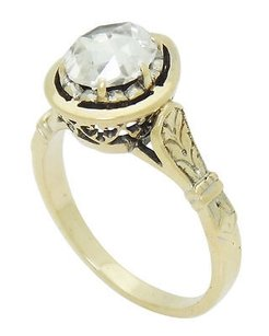 Antique Edwardian 14k Gold 1.00 Carat Tcw Rose Cut Diamond Engagement Ring R430