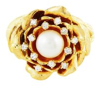 Other Antique Vintage Hand-Made 18k Gold Diamond Natural Pearl Ring