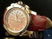 Aqua Master Rose Gold Case Brown Leather Chrono .20ct Diamond Quartz Watch W347
