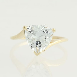 Aquamarine Bypass Ring - 10k Yellow Gold March Solitaire 2.80ct