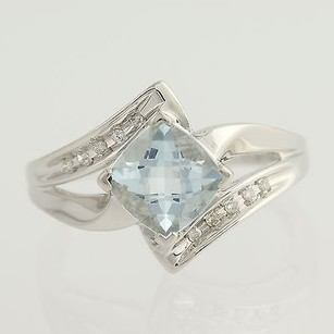 Other Aquamarine Diamond Bypass Ring - 10k White Gold March 1.65ctw