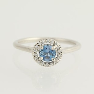 Other Aquamarine Diamond Ring - 14k White Gold March Birthstone Halo .55ctw