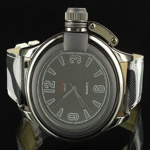 Army Camouflage Leather Band Crown Techno Gold Finish Mens 9.5 Wrist Watch