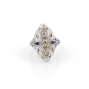 Art Deco 18k White Gold 0.60ct Diamond Sapphire Filigree Ring -