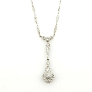 Other Art Deco Diamonds Platinum Pendant 14k Gold Fancy Link Chain Necklace