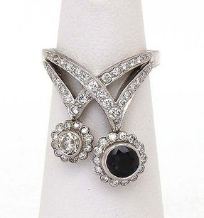 Art Deco Platinum 1.60ct Sapphire Diamonds Ladies Ring