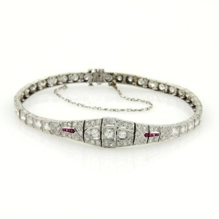 Art Deco Platinum French Cut Rubies 2.75ct Diamonds Milgrain Design Bracelet