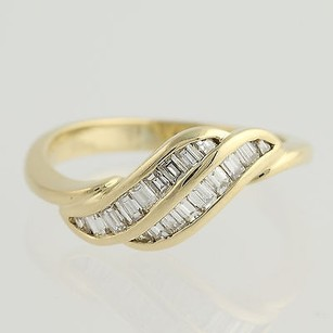 Baguette Cut Diamond Ring - 18k Yellow Gold Curved 12 - 34 Womens .33ctw