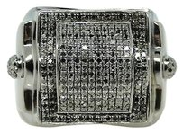 Mens Black On Black Xl Round Pave Diamond Square Ring 2 Ct